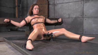 Maddy OReilly gets restrained and throatboarded by 2 huge cocks
