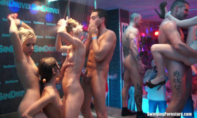 Wet Gangbang At Night Club