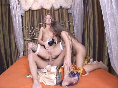 Attractive maid enjoy threesome fun with her boss and lady