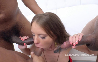 Gorgeous russian slut gangbanged by three huge dicks with DP