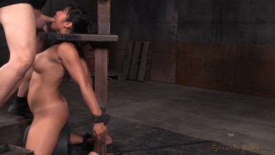 Busty Asian Mia Li Shackled To Sybian And Throatboarded
