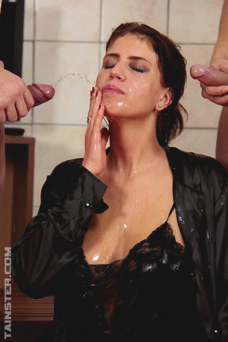 Sexy Hottie Getting Her Nice Blouse Double Splattered In Cum