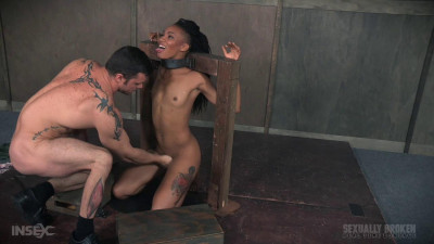 Nikki Darling is throat overloaded as two big cocks face fuck her into subspace