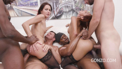 Veronica Leal & Cindy Shine assfucked together by 4 huge cocks with DAP