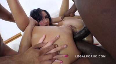 Russian slut takes 3 black monster cocks in the ass
