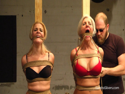 Pole Tied, Pantyhose-d Milf Playthings Set Severely Rope-Gagged On Screen!