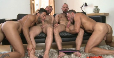 14 sexy males in raw gangbang