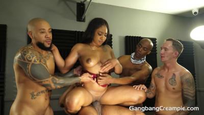 Busty Ebony Lala Ivey Gets Creampie GangBang