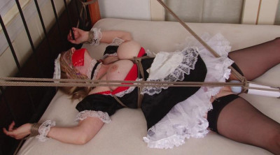 French Maid Bound Spread Eagle For Vibrator Orgasms
