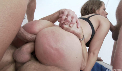 Hardcore double anal orgy for big ass russian slut