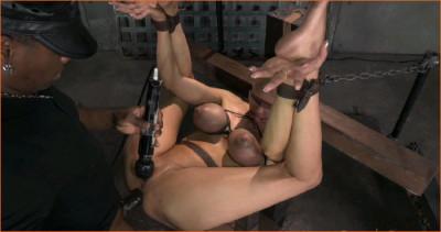 Rain DeGrey restrained in strict bondage, ASS fucked