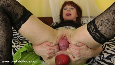 Big dildo pussy and anal inside out