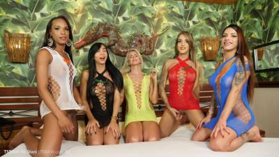 Description Five hung latinas vs one guy raw orgy