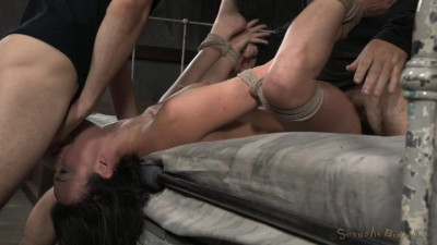 Tightly tied brunette Jennifer White roughly fucked in bed bondage with brutal deepthroat!