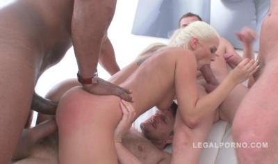 10 man anal gangbang for sexy blond Blanche Bradburry