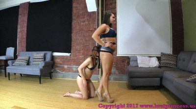 Description Small Girl Strapped Behind Big Ass Trained To Crawl And Assist