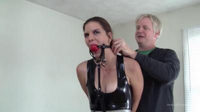 Hazel Allure : Latex Bondage With Mr Big Boss