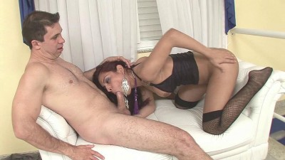 Description Redhead tranny gets nailed and facialized