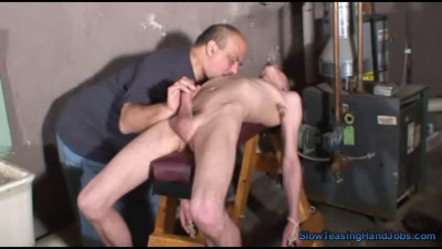 Slow Teasing Handjobs — Houseboy Made To Cum With A Vibrating Cock Ring