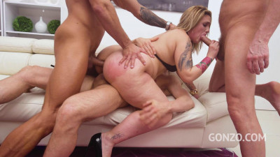 Description Curvy model Loulou Bonnet double anal fucked by three guys