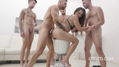 Busty slut Chloe Lamour assfucked 4on1 with DP & piss