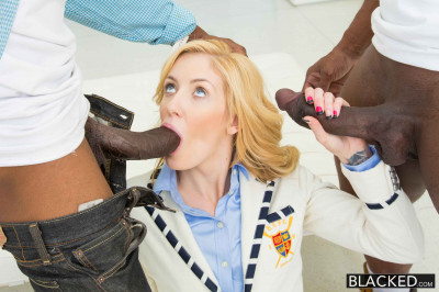 Stylish And Sexy Blonde With Two Black Guys