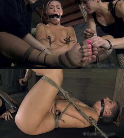 Bondage, domination, hogtie and torture for naked slut (part 2)