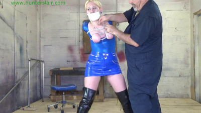 Her tits cruelly tied in a strict strappado for bound orgasms