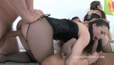 Timea Bella & Kate Black Gangbanged & DP'ed By Big Dicks