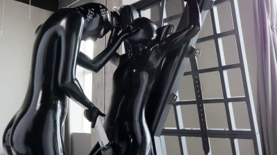 Super bondage, torture and domination for horny slave girl in latex