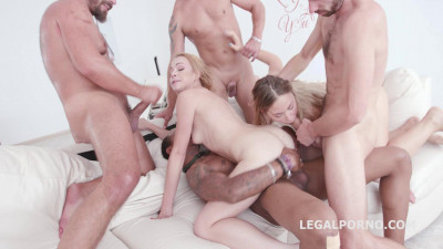 Selvaggia & Rebecca Sharon In Amazing Anal Gangbang With Creampie
