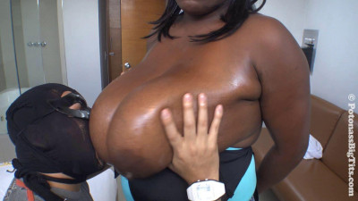 huge boob black chocolate milf teasing her boobs