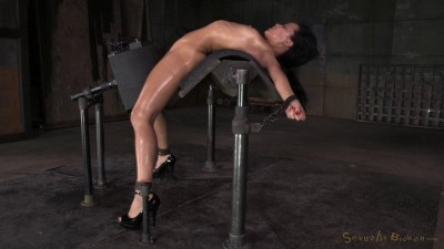 Exotic newbie Mia Austin tightly bound in back arch, sybian orgasms, brutal messy deepthroat!