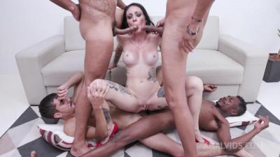 Cris Bathory's first triple penetration with DP, DAP, DVP and Prolapse