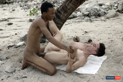 Life's A Beach For Horny Johny Cruz, As He Gets A Monster Black Dick Imbedded In His Ass!