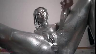 Silver Paint Asian Girl Masturbating
