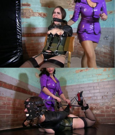 Bondage, torture and hogtie in the straitjacket shirt for model