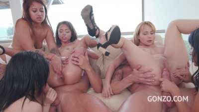 5 on 2 anal orgy with top models 0% pussy fucking