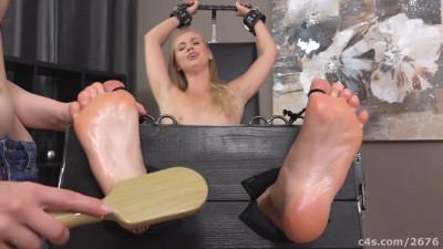 Description Ticklish blonde in socks