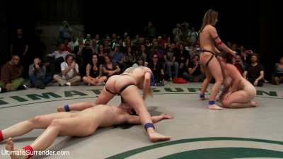 Battle of the champions!: 5 girl brutal orgy on the mat. The 2 losers get fucked by the winners