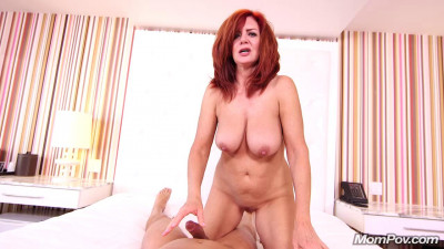 big tit redhead milf having fun at bed full hd