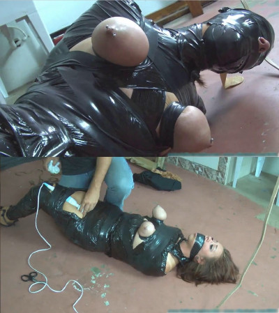 Hard bondage, torture, strappado and hogtie for model