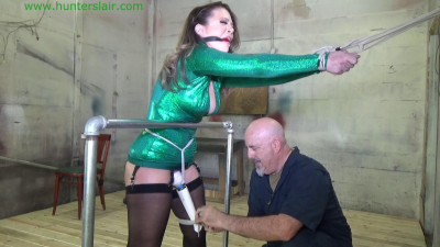 Stretched over a rail for helpless bound orgasms