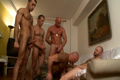 Amazing military orgy with muscle fuckers