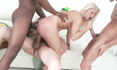 Kathy Anderson in welcome gangbang with DP