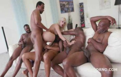 Five Black Busters Destroy White Blond Slut In DP Gangbang
