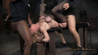 Sexy blonde MILF Darling huge squirting orgasms and epic deepthroat on BBC in strict bondage!