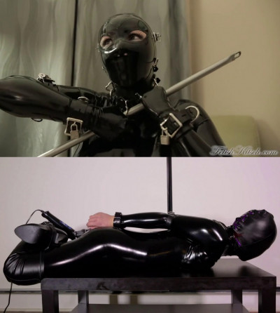 Tight bondage, torture and hogtie for sexy hot model in latex