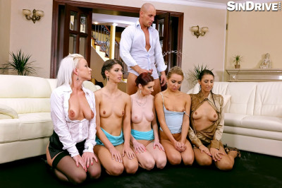 Victoria Puppy, Susan Ayn, Kate Gold, and Kitty Jane are all rubbing their bald pussies side by side,