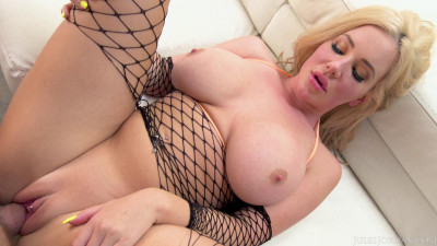 Busty Blonde in Fishnets Savannah Bond Enjoys His Massive Cock